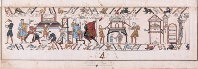 Bayeaux Tapestry: 'William the Conqueror at Hastings' engraved by James Basire