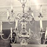 Black and white picture of chandelier