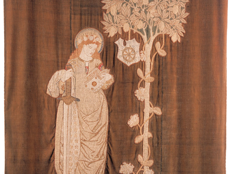 Image of Embroidered wall hanging of St Catherine